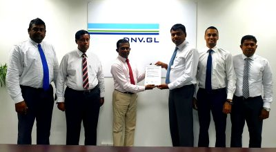 Standing from left to right - Mr. Hamilton Marlon Ebert – Head of Health and Safety, Advantis Projects and Engineering (Pvt) Ltd; Mr. Ujith De Silva – Business Development Manager, DNV.GL Sri Lanka Operations; Mr. Rohitha Wickramasinghe – Senior Auditor, DNV.GL; Mr. Janitha Jayanetti – Group Management Committee, Hayleys Advantis Limited; Mr. Shadil Rizan – Director, Advantis Projects; and Mr. Kamal Wimalaratne – General Manager, Advantis Engineering